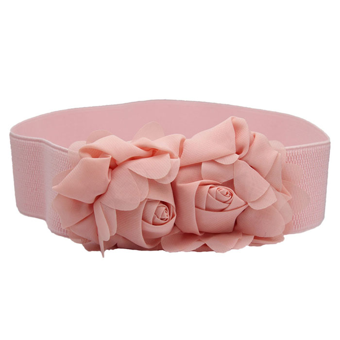 Discreet Fashion Cinturon Mujer Belts For Women Double Rose Flower Elastic Waist Belt Lady Waistband High Quality Cinturones Mujer#5 To Ensure A Like-New Appearance Indefinably