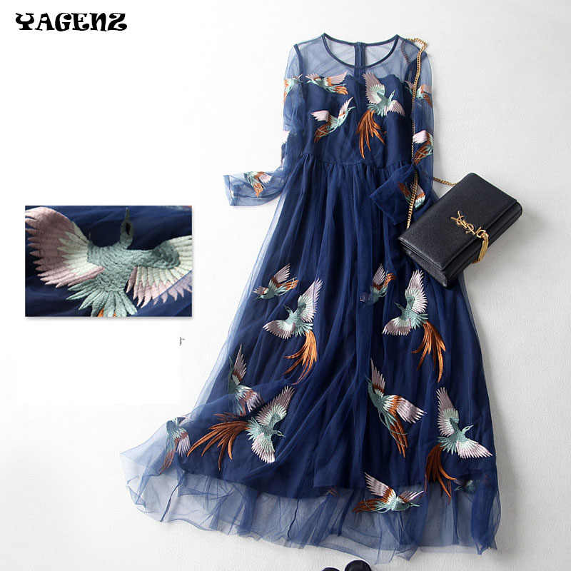 2019 High quality Women Summer Dress Wedding embroidery Phoenix royal Blue Birds Dress Lace Dress Women fashion Dress Vestidos