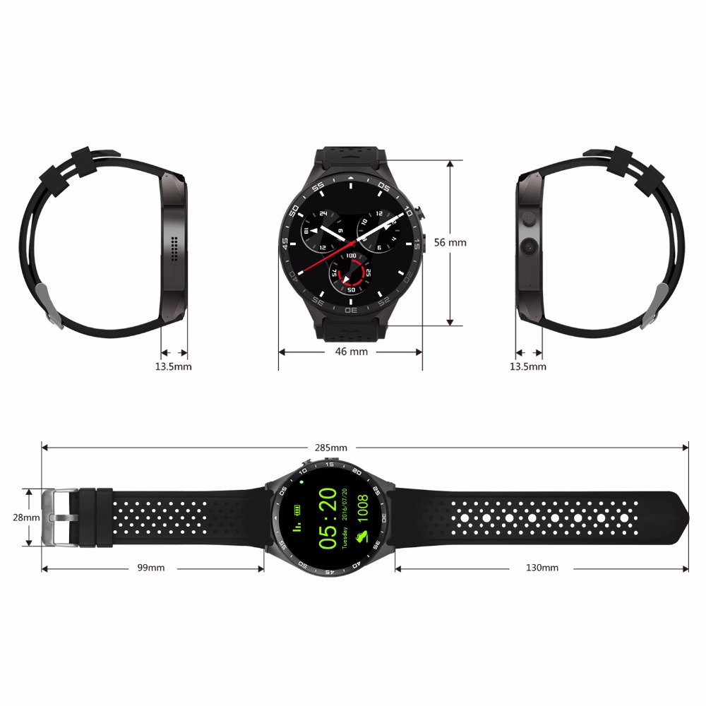 KW88 Smart Watch Phone Android 5.1 Quad Core MTK6580 512 MB di RAM 4 GB ROM Supporto Frequenza Cardiaca 3G Wifi GPS Sensore di Gravità Pedometro - 5