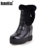 KemeKiss Kobiety Połowa Krótkie Wysokie Kliny Buty Platformy Buty Pięty Grube Futro Wewnątrz Buty Buty Zimowe Kobiet Footwears Rozmiar 34-39