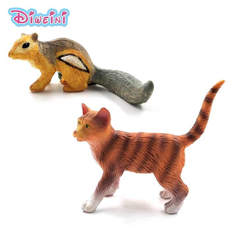 Simulation Cute Cat Small Chipmunk Mouse Animal Model Plastic Figure Home Decor Figurine Decoration Accessories Gift For Kid Toy
