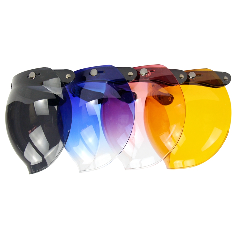 3-snap Open Face Helmet Visor Vintage Retro Motorcycle Helmet Bubble Shield Visor Lens Peak