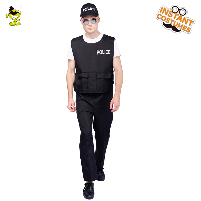 Carnival Party Career Police Roleplay Costumes Adult Man's Police Fancy Dress Handsome Policeman Outfits for Party Costumes