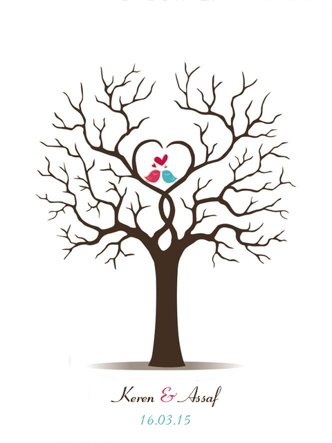 Canvas Wedding Fingerprint Tree Guest Book Alternative Love Birds Wedding  Decoration Bridal Shower Baby Shower Party