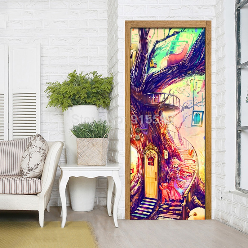 Door Sticker Graffiti Wall Decor Door Covering Graffiti Door Wallpaper Abstract Wall Decor Mural Bedroom Living Room Home Decor