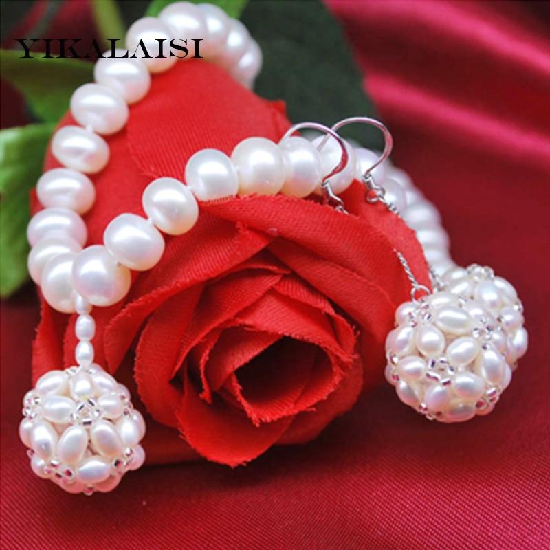 YIKALAISI 2017 100% naturel 8-9mm eau douce 925 en argent sterling perle ensembles de bijoux collier boucles d'oreilles goutte bijoux pour les femmes