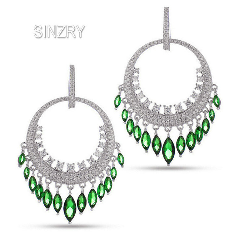 SINZRY bridal jewelry accessory cubic zirconia big circle tassel dangle earrings lady waterdrop wedding earrings for women сумка coccinelle coccinelle co238bwynt80