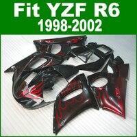 ヤマハr6 1998 1999 2000 2002高品質のフェアリングキット(赤い炎)送料無料フェアリングll12