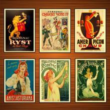 Carteles de publicidad Retro Absinthe Blanqui, anuncios de vino, pegatinas de pared clásicas, lienzo, póster vintage de pintura, decoración de Bar para el hogar, regalo