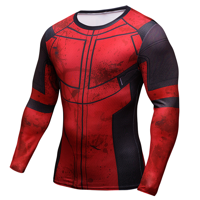 Fun Deadpool 3D Printed T-shirts Men Cosplay Costume Display Long Sleeve Compression Shirt Fit Fitness Clothing Tops Male