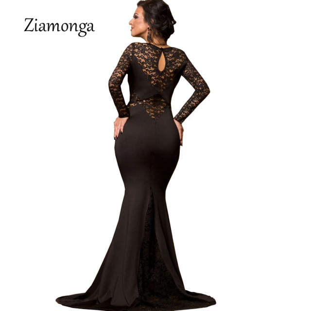 d2d69a263b03c Ziamonga Plus Size Vestidos Women Sexy Evening Party Black Lace Dress Long  Sleeve Bodycon Mermaid Dress Elegant Long Maxi Dress