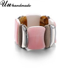 Harajuku Acrylic Wood Stitching Cuffs Wide Bracelet Bangle For Women Retro Jewelry Jewellery Pulseiras Joyas Bracelets & Bangles(China)