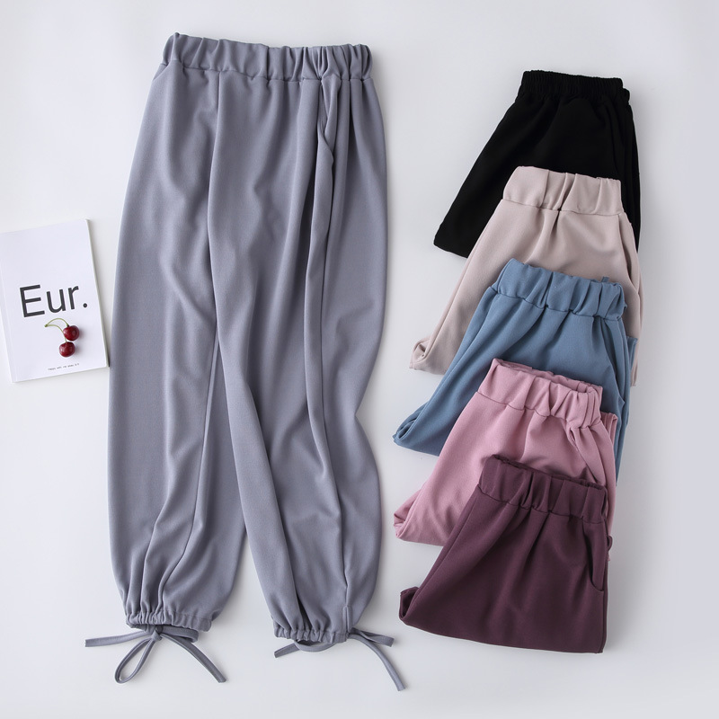 WKOUD Chiffon   Wide     Leg     Pants   For Women Ankle-length Elastic Waist Thin Summer   Pants   Solid Loose Cool 2019 Casual Trousers P8907