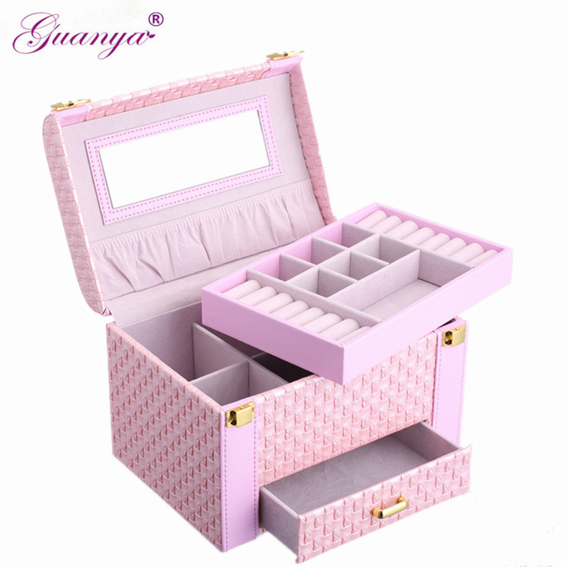 Guanya Portable Braided Pattern Necklace multilayer Jewelry Storage Box multifunctional Rings Earrings Organizer Case Women Gift цена в Москве и Питере