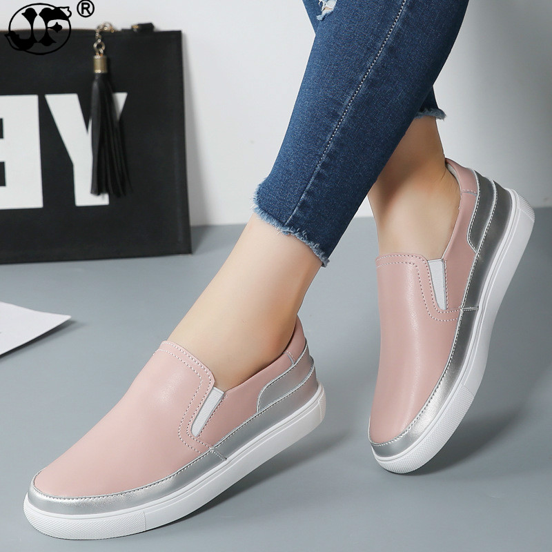 2018 Spring Women Leather Loafers Fashion ballet flats sliver white black Shoes Woman Slip On loafers boat shoes Moccasins
