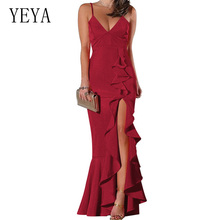 YEYA Irregular Ruffles Sexy Deep V Neck Sleeveless Maxi Dress Women Red White Backless High Splits Bodycon Elegant Party Dresses