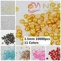 Perlado Cabochon Media Ronda Perlas 10000 unids 1.5mm Artesanía de Resina ABS de Perlas Nail Art Decoraciones Ornamento de La Joyería Colores #14-#24