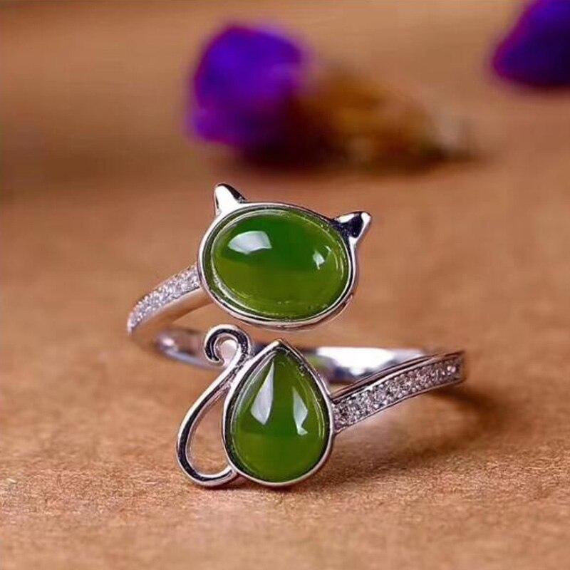 Yu xin yuan boutique bijoux naturel hetian jasper 925 argent incrusté jade réglable dame anneau bijoux