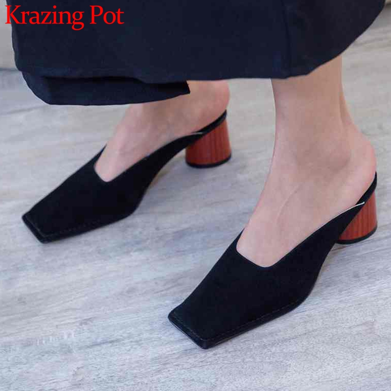 KRAZING POT 2019 Summer sheep suede brand shoes round high heels women pumps square toe princess