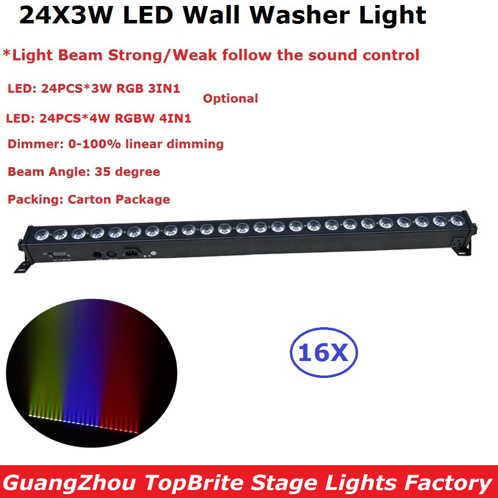 Free Shipping 16Pack 24X3W RGBW/RGB Optional Indoor Led Wall Washer Lights 35 Degree Beam Angle For Christmas Holiday Decoration free shipping to north america rgb 3in1 super thin led wall washer 24x3w dc 24v 4wires 10pcs lot used for commercial decoration