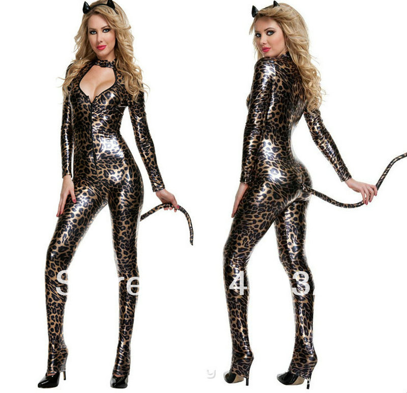 All in one leopard print leather sexy cosplay sexy devil costumeswomen halloween costumes evening club party / perform clothes-in Anime Costumes from ...  sc 1 st  AliExpress.com & All in one leopard print leather sexy cosplay sexy devil costumes ...