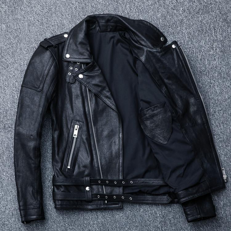 HTB1ArQelf6TBKNjSZJiq6zKVFXaR MAPLESTEED 100% Natural Sheepskin Tanned Leather Jacket Black Soft Men's Motocycle Jackets Motor Clothing Biker Coat Autumn M111