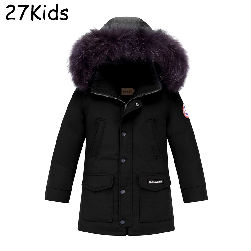 2017 New Winter 90% White Duck Down Coats Boy Warm Real Fur Collar Hood Removable Parka Girls Fashion Thicken Jacket 5-16 Years malidinu brand new 2015 winter mans thicken white duck down jacket coat hood parka european size free shipping fur collar m1399