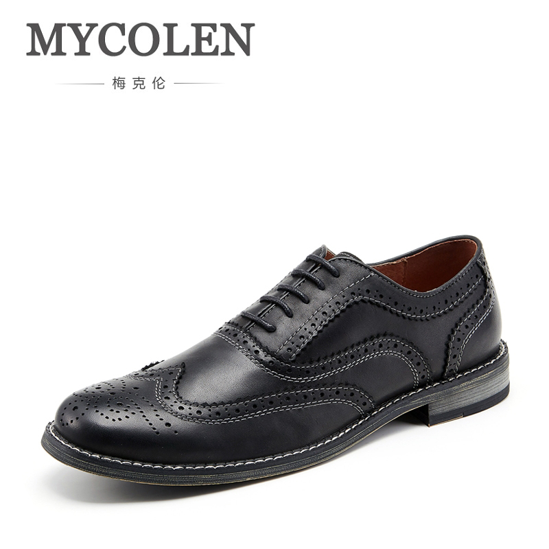 MYCOLEN British Style Leather Mens Dress Shoes Comfort High Quality Shoes For Men Lace-Up Business Men Shoes Male Shoes Social tangnest men pu leather shoes 2017 british style men lace up casual shoes solid platform flats for male comfort shoes xmr2422