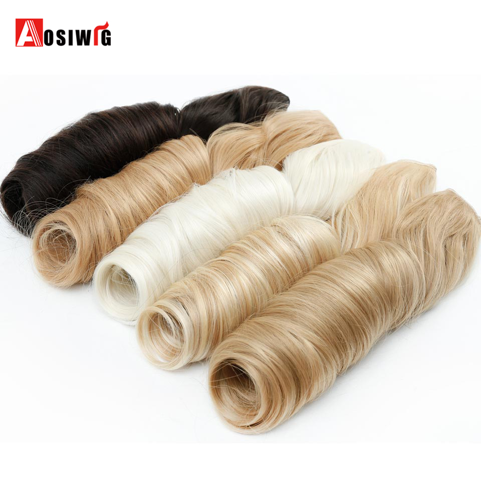 AOSIWIG 24inch Long Straight Hair Extentions 5 Clip in on Hairpiece Synthetic Heat Resistant Hair Extension