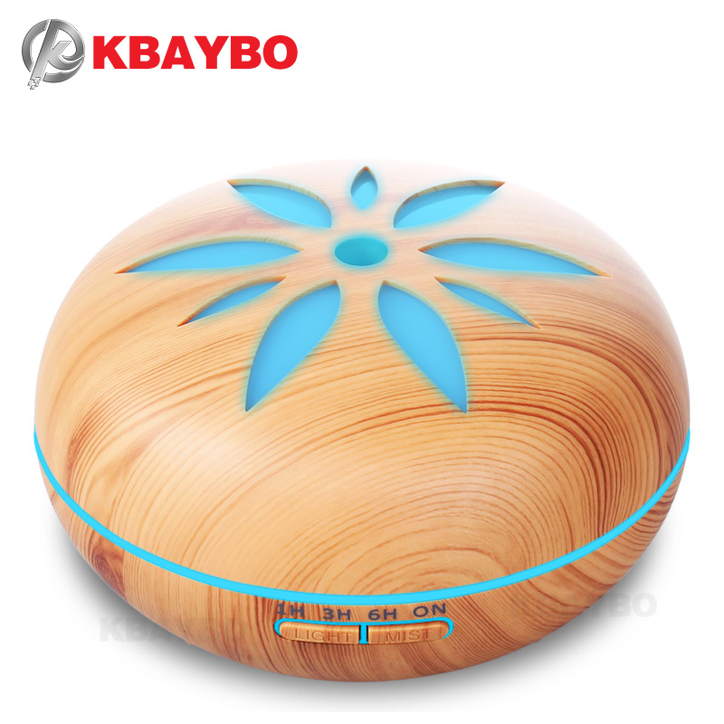 550ml Ultrasonic Humidifier Essential Oil Diffuser Wood Grain Mist Humidifier LED Night Light For Office Home
