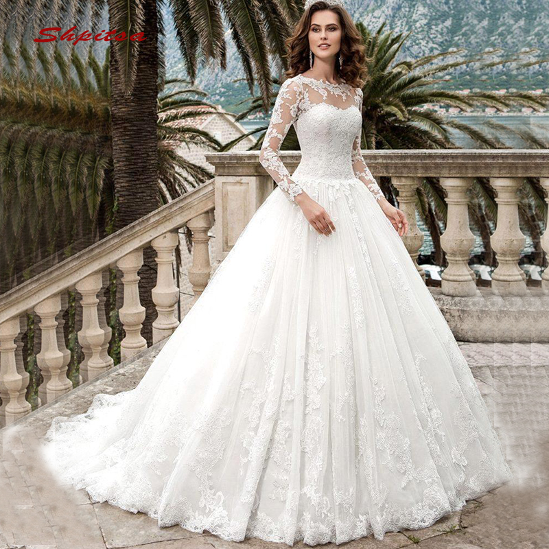 Long Sleeve Lace Wedding Dresses Ball Gown Tulle Plus Size Bride Bridal Weding Weeding Dresses Wedding Gowns 2019