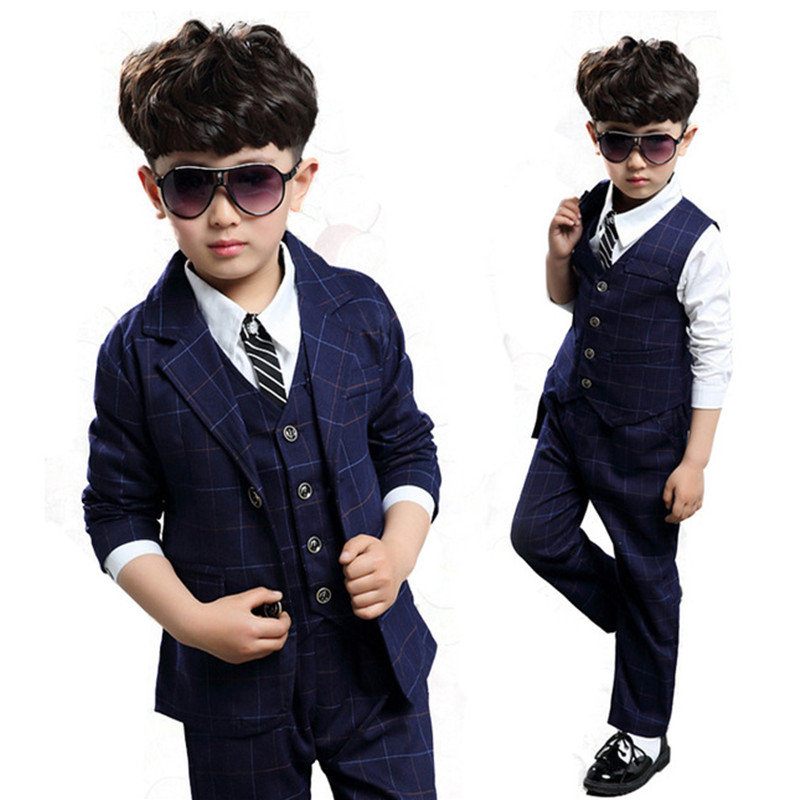 Boys Wedding Outfits Formal Suits Boy clothing Sets Teenagers Gentleman Kids Clothes autumn Plaid Vest+Jacket+Pants 3Pcs Sets
