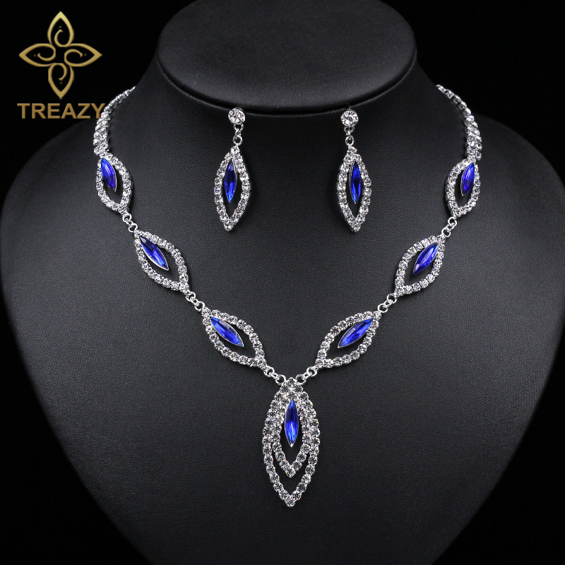 Royal Blue And Silver Necklace Set