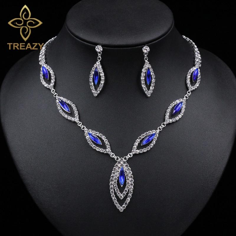 treazy clear royal blue crystal bridal jewelry sets leaf