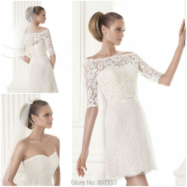 Simple Lace Wedding Dress Cheap Informal Bride Dress Half: Aliexpress.com : Buy W036 Casual Pleated Top With