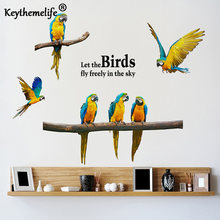 Keythemelife New Listing Wall Stickers Parrot Creative Personality Bird Bedroom Stickers Background Sofa Animal Wallpaper A(China)