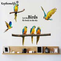 Keythemelife New Listing Wall Stickers Parrot Creative Personality Bird Bedroom Stickers Background Sofa Animal Wallpaper A