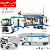 394pcs New 10420 City Police Fluidity Police Station Building Blocks Assembled Kids Toys Compatible With 60044