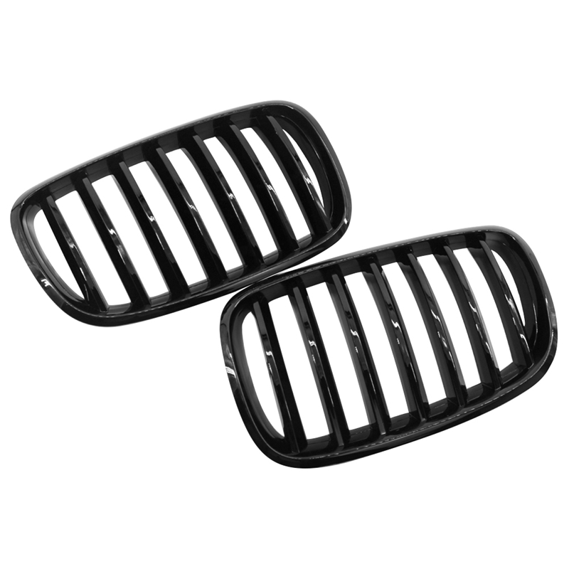 1 Pair Gloss Black Car Front Grille Net Racing Grills for BMW X5 X5M X6 X6M E70 E71 2008-2013 Auto Replacement Accessories 2007 2013 kidney shape matte black abs plastic e70 e71 original style x5 x6 front racing grill grille for bmw e70 x5 bmw x6