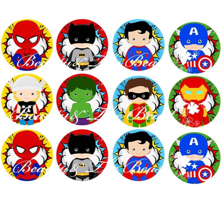The Avengers Stickers Superhero Cupcake Toppers Birthday ...