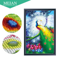 Meian Special Shaped Diamond Embroidery Animal Peacock 5D Diamond Painting Cross Stitch 3D Diamond Mosaic Decoration