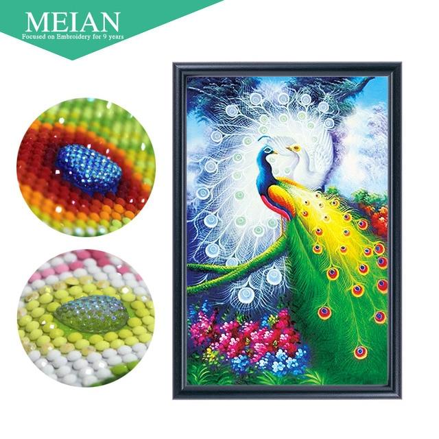 meian special shaped diamond embroidery animal peacock 5d diamond painting