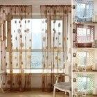 Sunflower Floral Print Tulle Voile Door Window Rom Curtain Drape Panel Sheer Scarf Valances Voile Window Curtain