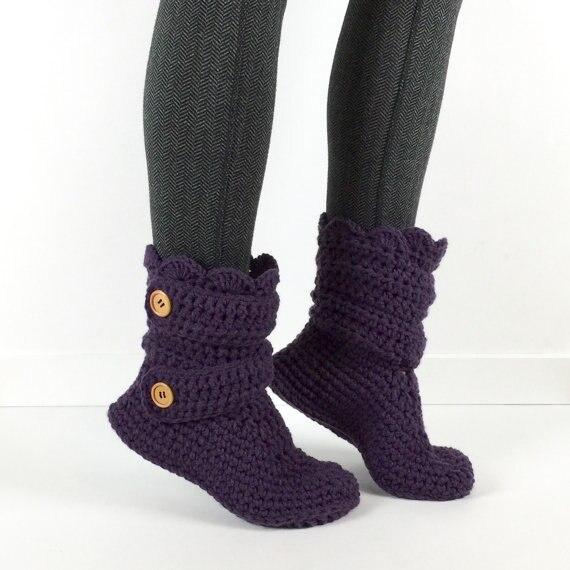 Для женщин крючком неоновый розовый тапочки детские bootscrochet женская обувь пинетки, домашняя обувь,