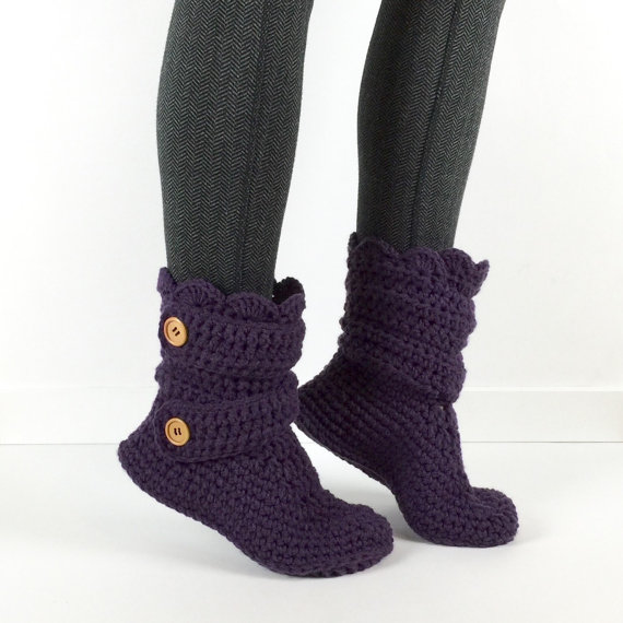 Chausson femme au Crochet rose fluo bébé BootsCrochet mère chaussures chaussons, tricot maison chaussures,