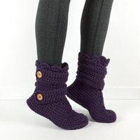 Women's Crochet Neon Pink Slipper BootsCrochet Booties, Knit House Shoes,