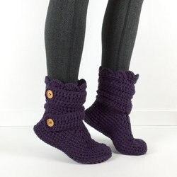 Zapatillas de ganchillo Rosa neón para mujer, botines de bebé BootsCrochet, zapatos de Casa de punto,