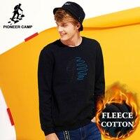 Pioneer Camp Soft Warm Fleece Sweatshirts Men Brand Clothing Fashion Print Thick Winter Hoodies Male Quality