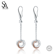 цена SA SILVERAGE 925 Sterling Silver Drop Earrings Long Silver 925 Earrings Women Brincos for Women Fine Jewelry Rose Gold Color New онлайн в 2017 году