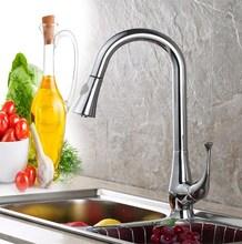 Латунь вытащить кухонный кран раковины, горячей и холодной воды на бортике
